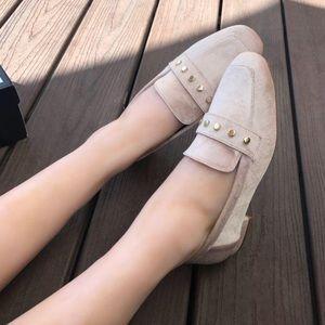 NINE WEST Blush Nude Velvet Loafer Dress Flat  9